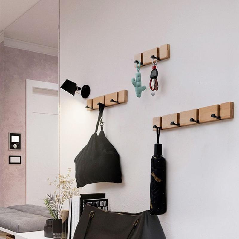 1 PC giratoria de madera gancho de la capa impermeable de colgar titular ahorro de espacio multiusos montado en la pared gancho de la ropa del hogar del estante