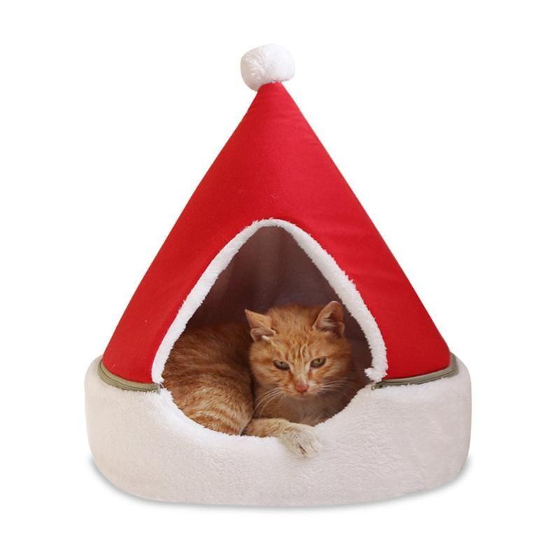 Albero di Natale della fossa di scolo calda inverno Piccolo gatto del cane del nido Chiuso rimovibile Yurt comodi accessori per la casa animale domestico molle
