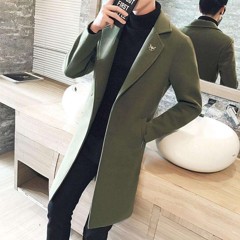 Moda- Nuevo abrigo de lana de invierno Hombres Ocio de ocio Secciones Largas Woolen Abrigos Para hombre Color Puro Casual Chaquetas de Moda / Hombres Casuales Abrigo