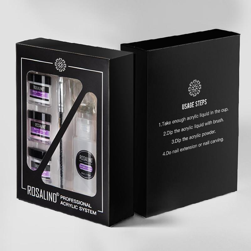 20in1 3 Renk Temel Nail Art Akrilik Toz Akrilik Sıvı Fırçası Dosya Tampon 3D Dekorasyon Seti Nail Uzatma DIY Pembe Beyaz Temizle Formlar