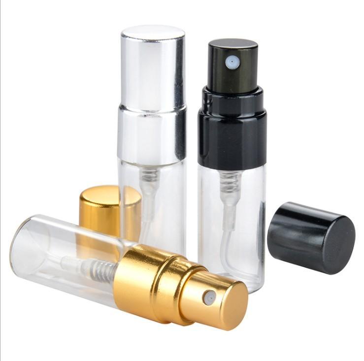 3ML Voyage bouteille de parfum en verre avec UV Rechargeables Pulvérisateur cosmétiques Pompe Pulvérisateur Argent Noir Or Cap
