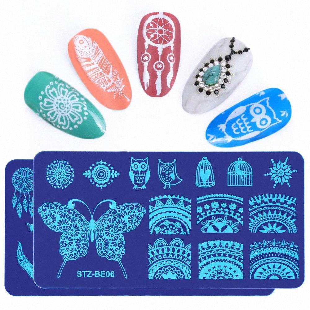 1pcs prego Estamparia Placas Flores animal Dream Catcher Projeto Nail Art Modelos Polish Mold Stencil Manicure Tools TRSTZBE01-16 gorduras #