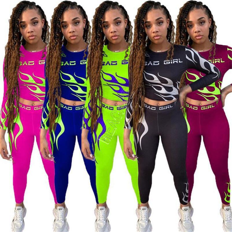 Designer Frauen Bad Girls Letters Tracksuits Sexy Langarm-Outfits Flamme Print Crop Top T-Shirt + Hosen Leggings Jogginganzug D91604