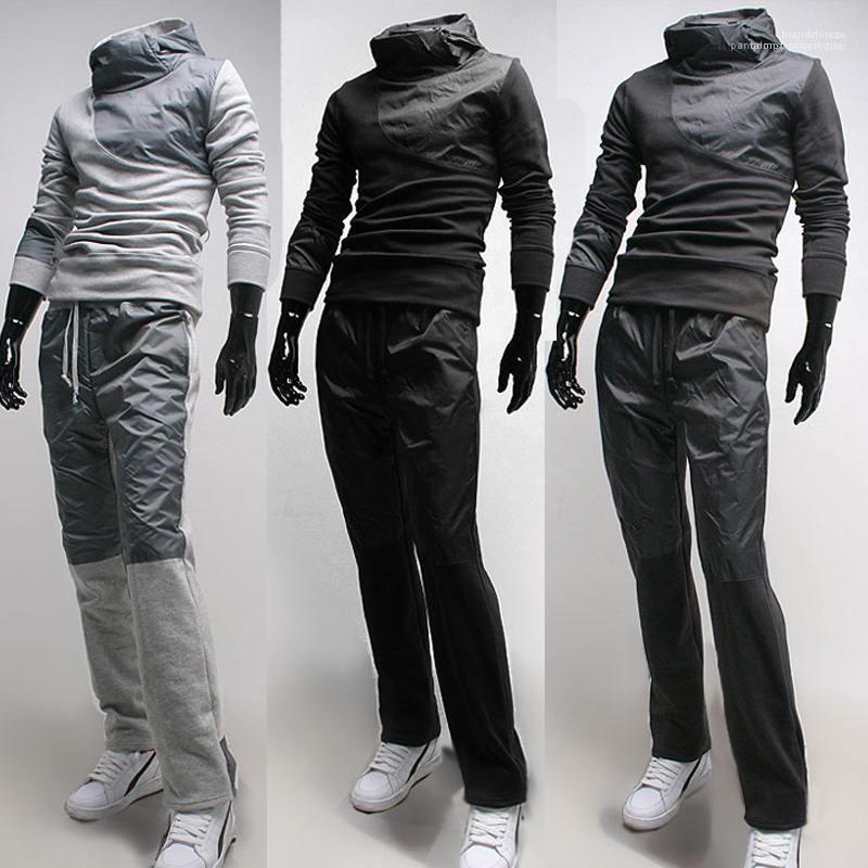 Hülse Kleidung Aktiv Stil Drawstring beiläufig Tracksuits Mens Designer Kontrast-Farben-2pcs Anzug mit Kapuze Patchwork Lang