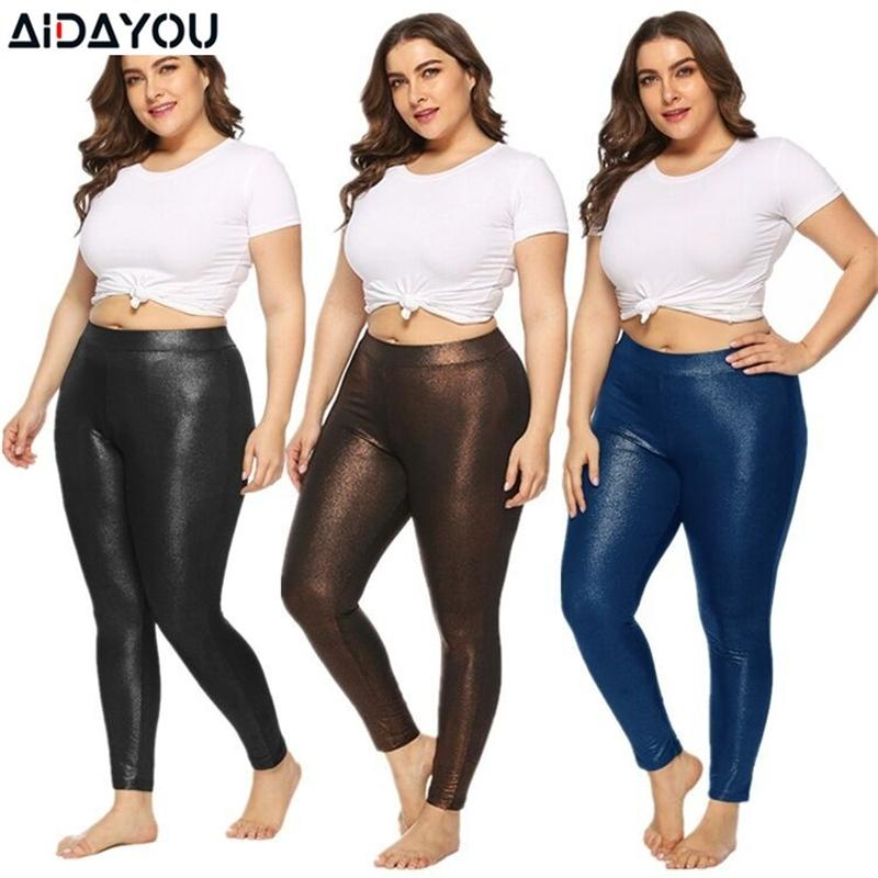 Womens Plus Size leggings Solid Color Fashion Sexy Slim-fit 5XL Spring high stretch golden sparkling sports leggings ouc3315 Y200904