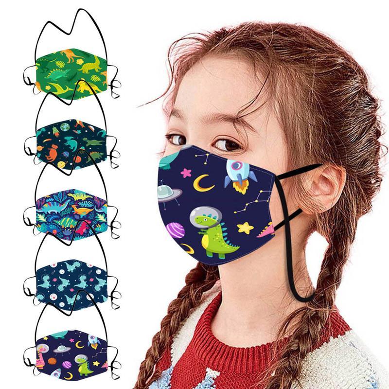 İpi Halat Anti Toz Yüz Kapak Partisi ile Dinozor Baskı Maskeler Yeniden kullanılabilir Çocuk Koruyucu Maske Noel HHB1632 Maske Favor