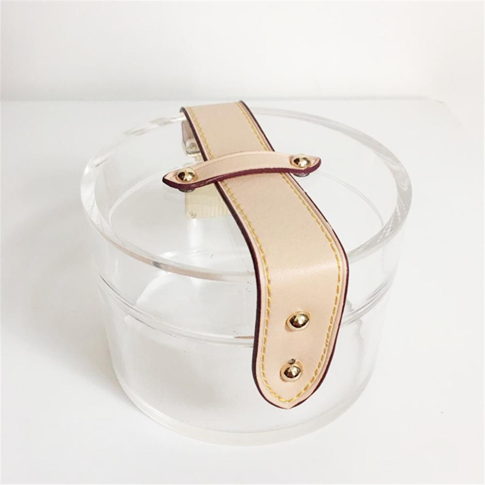 Nuovo sacchetto di sera acrilico trasparente Chic Donne borsa chiara della frizione nudo solido Retro Prom Borse sacchetto del partito scatola dura Trendy rotonda