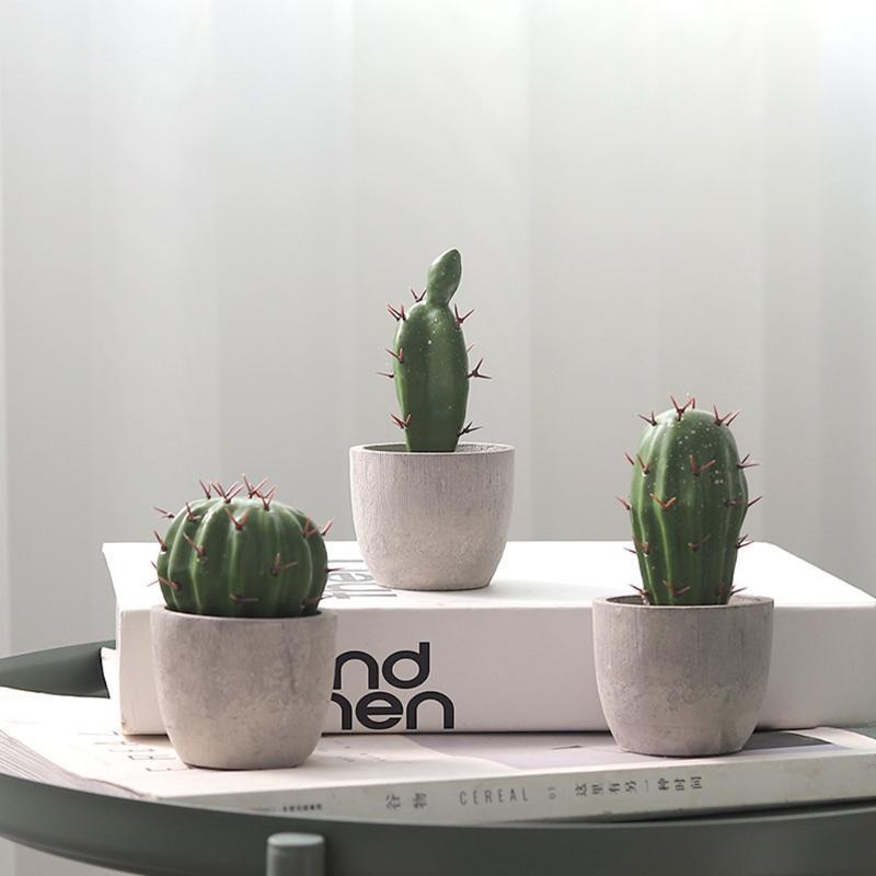 Simulation Cactus en pot ornements en résine oponce pilier Succulent Plant Simulation Décoration Bonsai