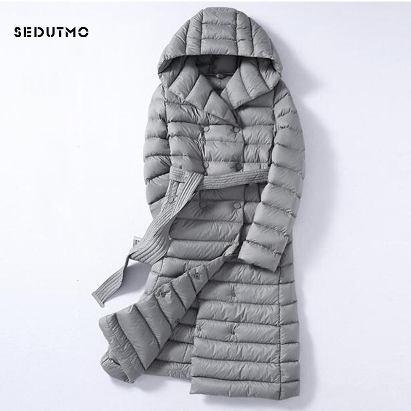 SEDUTMO 2020 invierno más el tamaño 3XL largas chaquetas para mujer ultra ligero pato abajo cubren con capucha de la chaqueta Puffer otoño ED226
