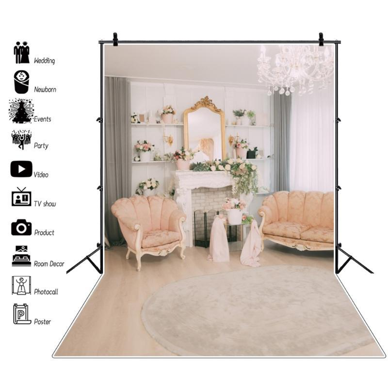 Laeacco Living Room Gray Fireplace Chandelier Sofa Carpet Flowers Interior Photography Backdrop Photo Background Photocall