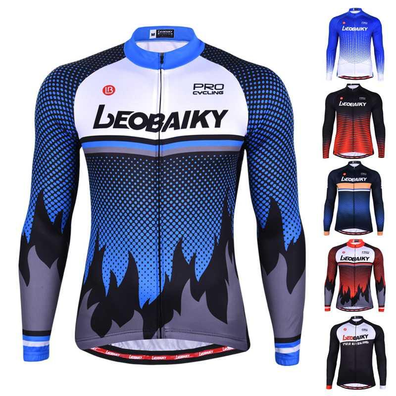 Мужчины Велоспорт Джерси Summer Long Sleeve Pro Team 2020 маунтинбайку Одежда MTB Одежда Носите дышащий Bicycle Трикотажные Осень