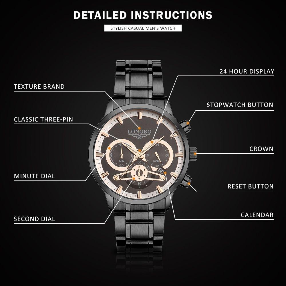Longbo 80736 Оригинал Мужские золотые часы из нержавеющей стали ремешок моды кварца Дата Показали Мужские наручные часы