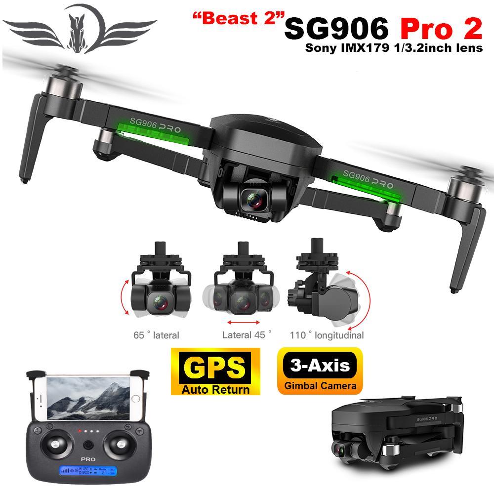 SG906 Pro 2 aviones no tripulados con cámara de alta definición 4K Profesional de 3 ejes cardán auto-estabilización 5G WiFi FPV sin escobillas RC Quadcopter Drone GPS