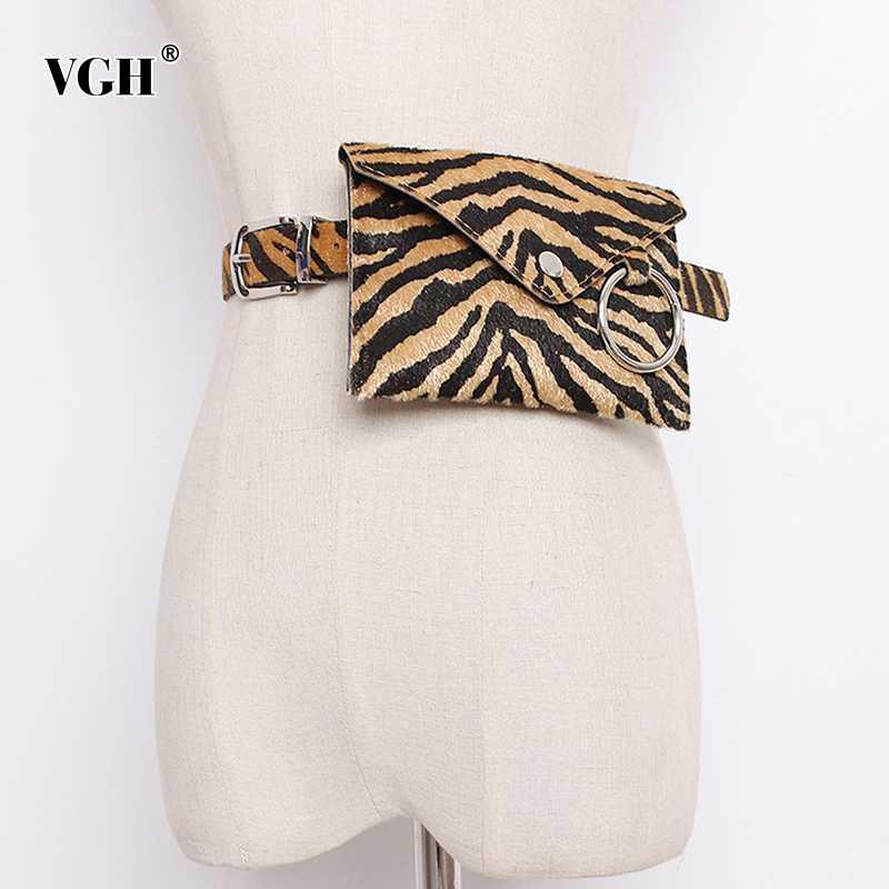 VGH de cuero elegante de la PU de la impresión correas de las mujeres mini bolsillos streetwear del estilo cinturón de cintura femenina Accesorios de Moda 2020 Spring Tide