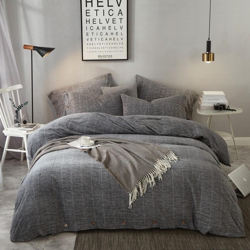 Algodão velo sono Calor Cama definir o tamanho da Rainha Rei 4pcs azuis Marinho / Cinza Botão Duvet Cover Plano / cabido conjunto de folha de cama