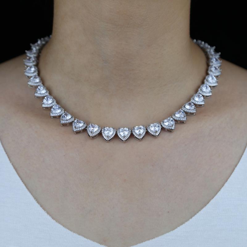 Iced Out шику CZ зубец Сердце ожерелье с теннисной цепи цвета золота Bling Кубический циркон женщин Хип-хоп ювелирных изделий для подарка