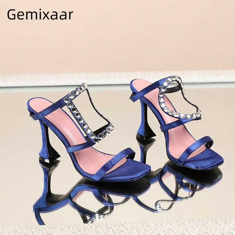 Асимметричный Кристалл Лепнина партия Обувь женщина высокого Бокал каблук Sexy Open Toe атласная Rhinestone тапочки Женщины Мокасины для женщин башмаков 4xXJ #