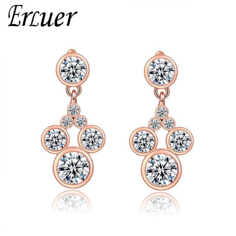 Boucles d'oreilles de charme Dangle Chandelier pour femmes Crystal Fasion Bijoux Fille Rose Gold Zircon Été Boucle d'oreille Été Bijoux Accessoires