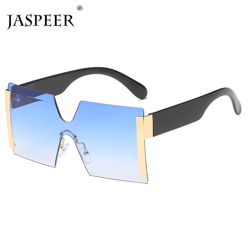 Piece Shades Eyewear Rimless Glasses Travel Flat Designer JASPEER One Brand Square Sunglasses Female Women UV400 Sun Oversized Jpbru