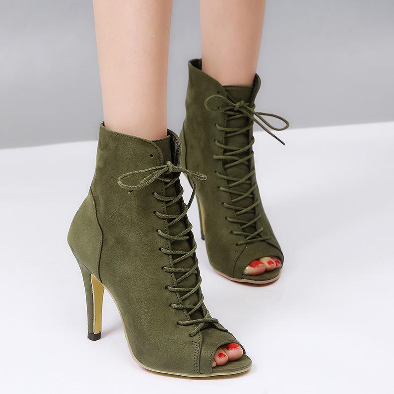 Женщины Boots Высокие каблуки женские туфли на каблуках Гладиатор Летняя Женская обувь Женская мода Open Toe сандалии венчания партии