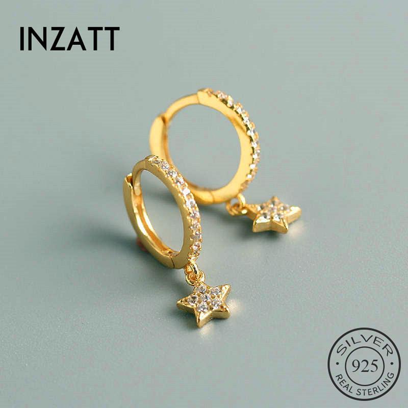 925 Gümüş Zirkon yıldızı Hoop Küpeler İçin Moda Kadınlar Partisi Geometrik Güzel Takı Bohemian Aksesuarları INZAReal
