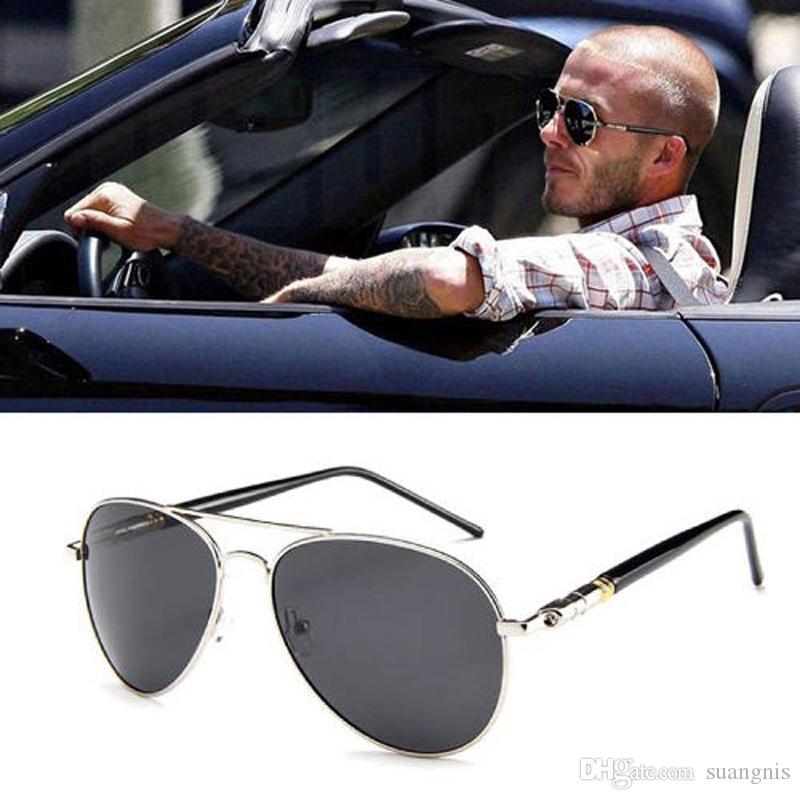 Diseño de gafas de sol de calidad de gran tamaño de la pierna de la pierna para los hombres de las gafas polarizadas del sol del sol de la aleación de la aleación del piloto masculino