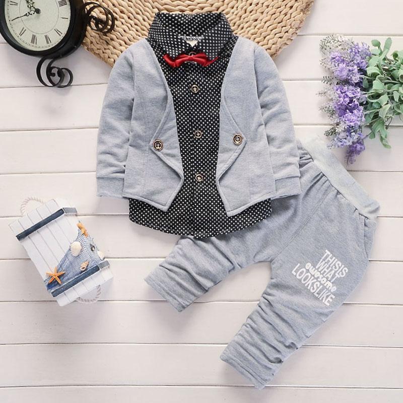 2pcs Kleinkind-Babykleidung Jungen-Kleidung Herbst Freizeit-Outfits Langarm-V-Ausschnitt T-Shirts Hosen Gentle Sets