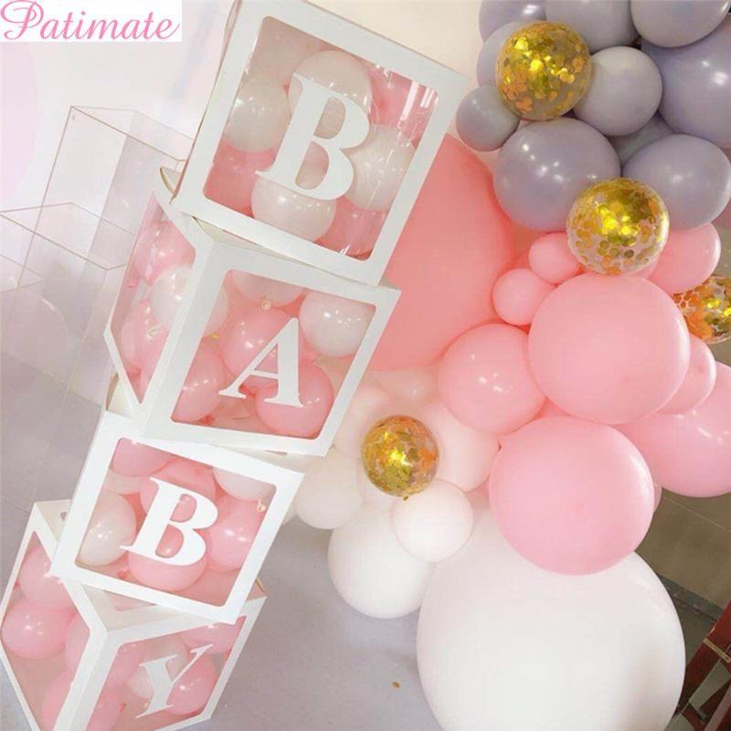 4PC 소녀 보이 베이비 샤워 장식 투명 상자 아기 세례 생일 파티 장식 골 판지 상자 선물 베이비 샤워 용품
