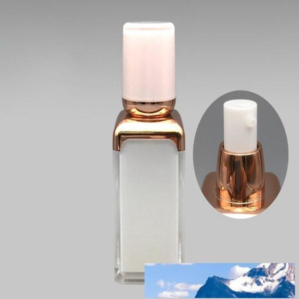 15ml новый квадратный акрилового вакуума бутылки лосьон фарфор белая бутылка корпус гальванического золото насос