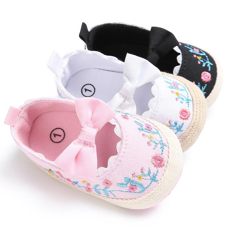 Baby Girl обувь White Lace Цветочные Вышитые Мягкая обувь Prewalker Walking Малыш Детские Первый Уолкер