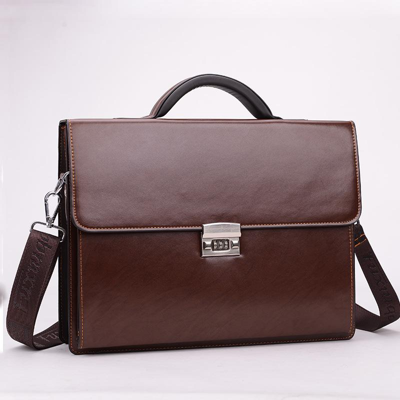 New Arrival Diagonal Messenger Bring Computer Briefcase Lock Package Luxury Maleta Bag Men Password Leather Male Handbags Eifgm