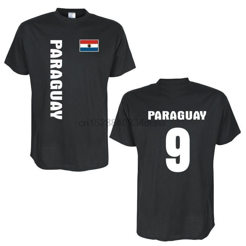 2019 Neue Männer-T-Shirt PARAGUAY Länder Flagge T-Shirt mit Rückennummer T-Shirt
