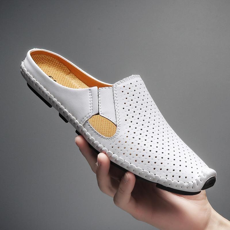 Neue Sommer-Sandalen Männer weiche Lederschuhe atmungsaktiv rutschfeste Badeschuhe Herrenschuhe Schuhe