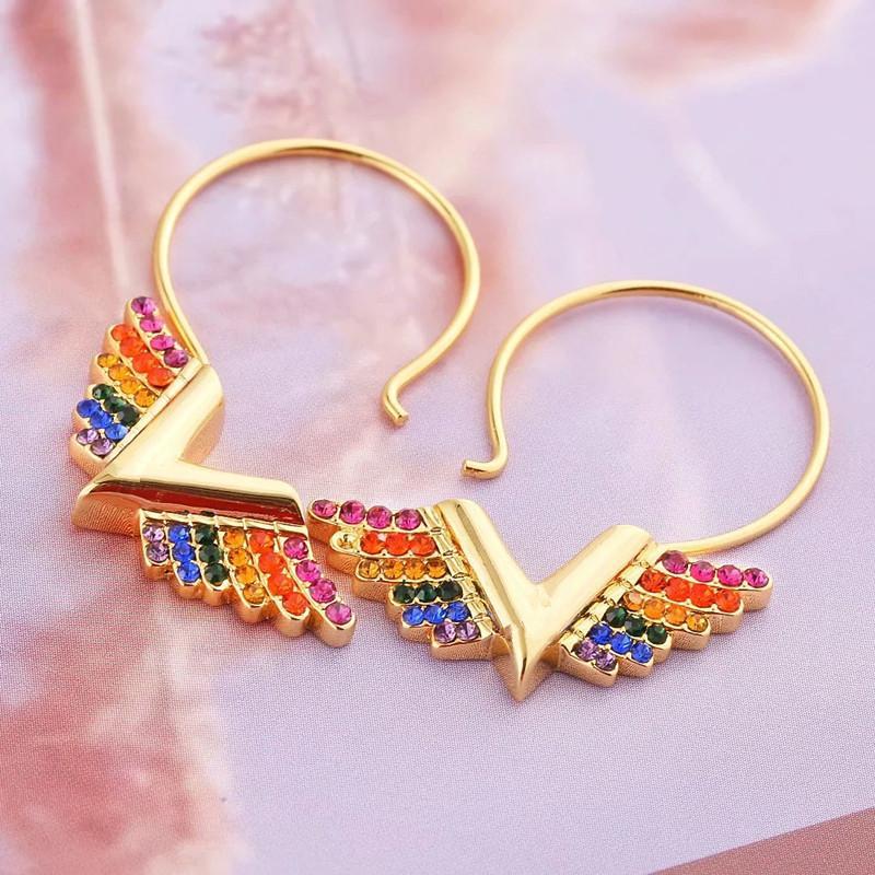 ingrosso di gioielli in acciaio inox Orecchini grande orecchino in oro rosa che volano orecchini di diamanti orecchini delle donne della lettera