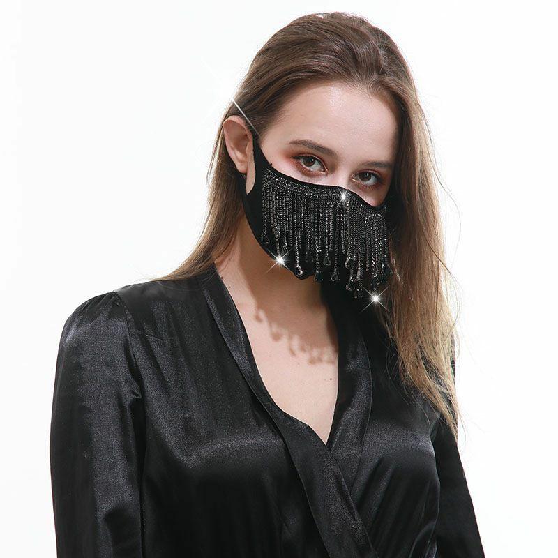 Luxury Drill Tassel Fashion Designer Women Decorative Quarantine Night Club Party Sun Protective Face Mask Wholesale