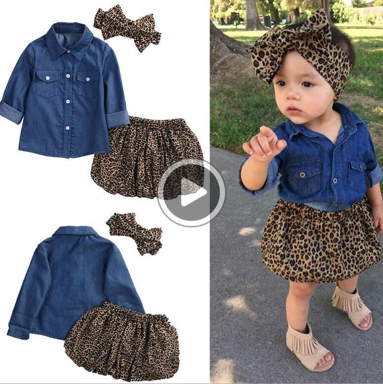 Baby Girls Clothes 3pcs Sets Children Cowboy Shirt Leopard print Skirt and Headdress Suits for Kids fit 1-5 Years