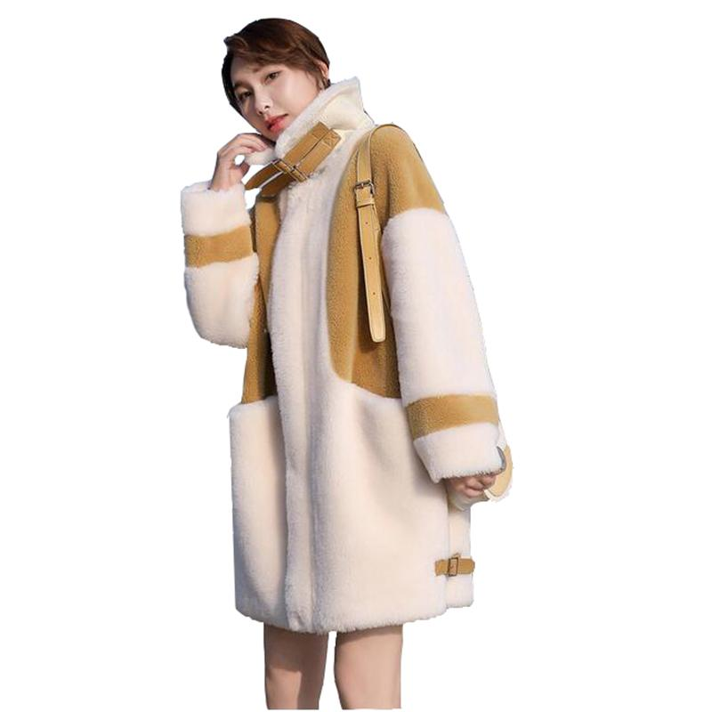 2020 otoño y el invierno de la capa de esquila partículas femeninos cachemira media longitud de piel de cordero de piel de invierno otoño una mujer abrigo de la mujer nueva
