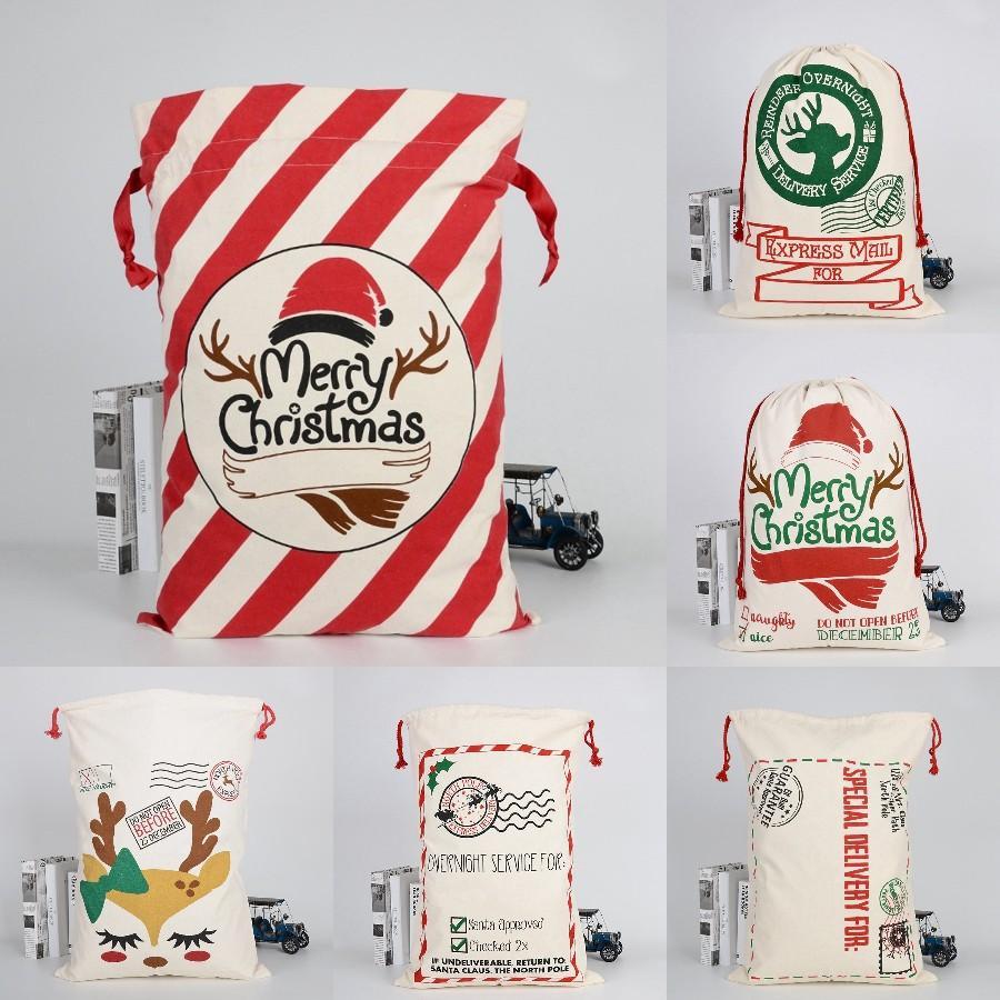 Saco do Natal Bolsas 11 estilos grande lona Feliz Saco dos doces de Natal de Santa Sack Xmas Stocking rena presente Storage Bag transporte marítimo DDA534