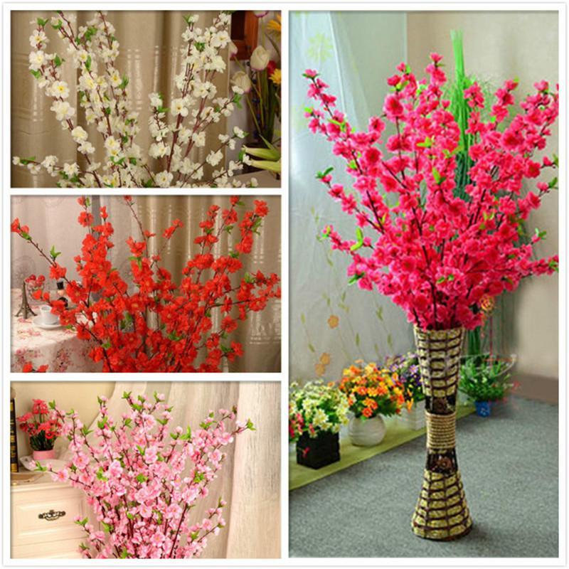 la simulación artificial rama de ciruela primavera de cerezo flor falsa melocotón flor de seda decoración de boda en casa de melocotón plástico 65cm ramo