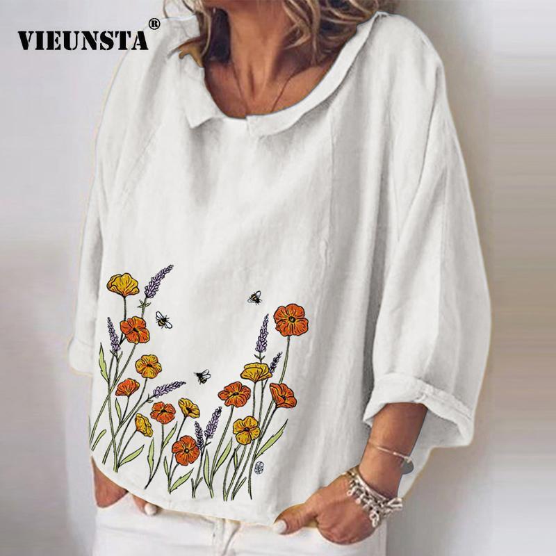 Las mujeres da vuelta-abajo de la blusa de algodón de lino camisas elegantes gatos animales de impresión en 3D Mujer Tops otoño de manga larga floja blusas 5XL 200924