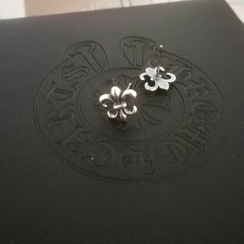 EbNiS Gümüş Çapraz çiçek dolandırıcı yıldızı altı yıldız ve küpe erkek ve kadın serseri kişilik Kore tarzı moda elmas kabuk tutmuş GD earr