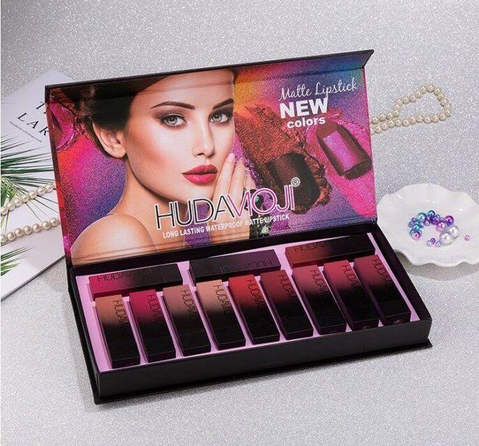 Fábrica derict mais nova maquiagem Huda Moji 12 cor batom set non-stick copo de longa duração à prova d 'água matte batom frete grátis