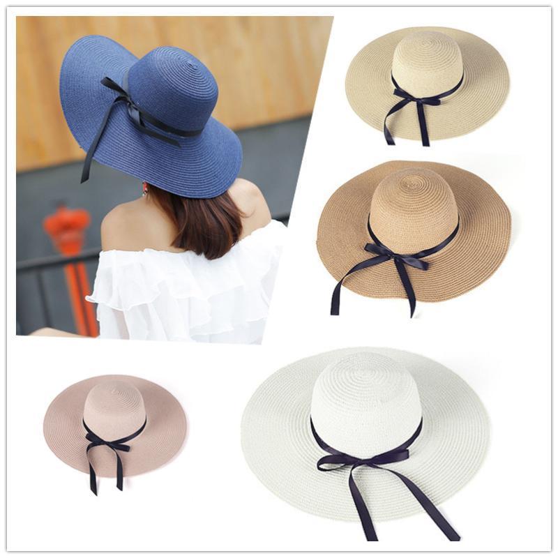 Широкие шляпы Breim Hats летняя соломенная шляпа женщины большой пляж сол Солнце складной блок УФ-защита Панама кость Чапеу Феминино