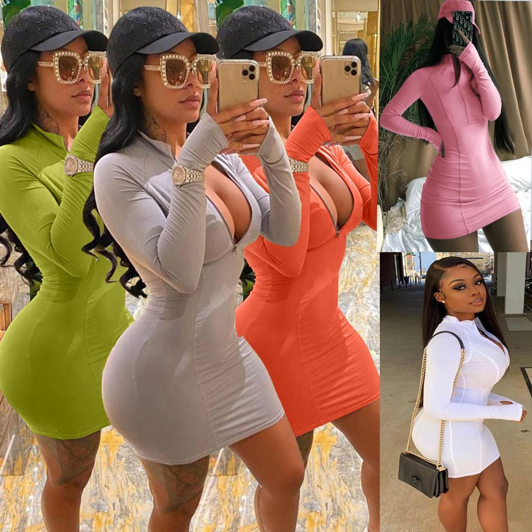 Women Dress Printed Zipper Solid Color Multiple Colors Available Casual Sexy Slim Tight Ladies Dresses New Fashion 2020