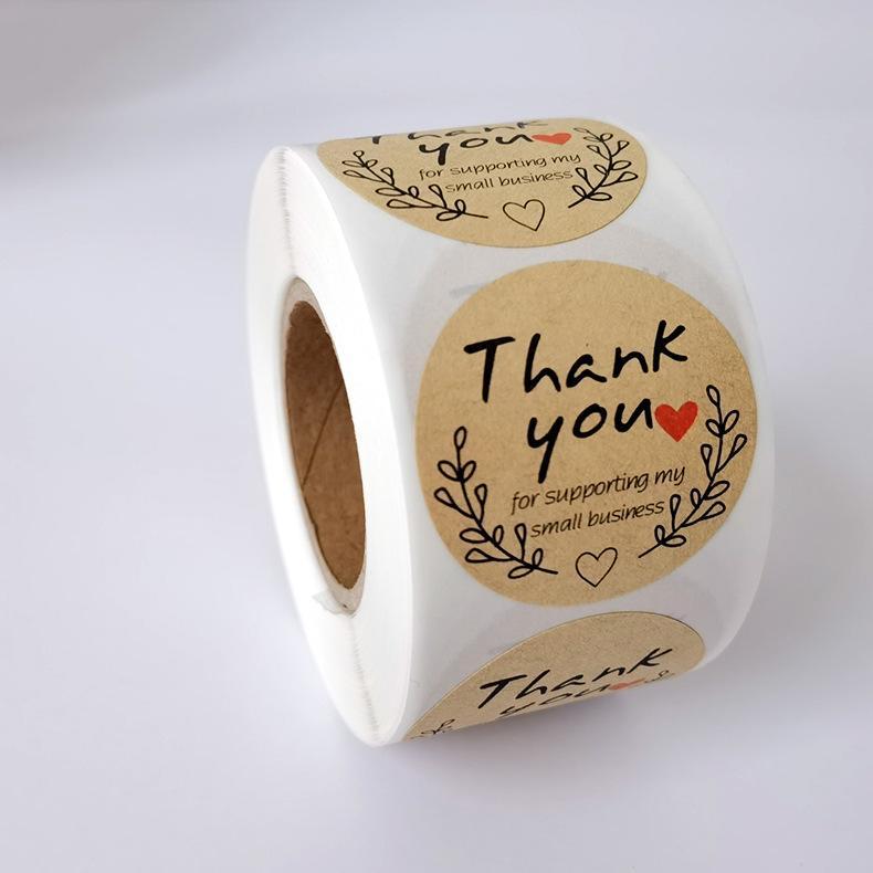 500 unids / rollo impreso amor gracias adhesivo adhesivo etiquetas de etiquetas de sello de sello de sobres 1 pulgadas Pegatinas de fiesta