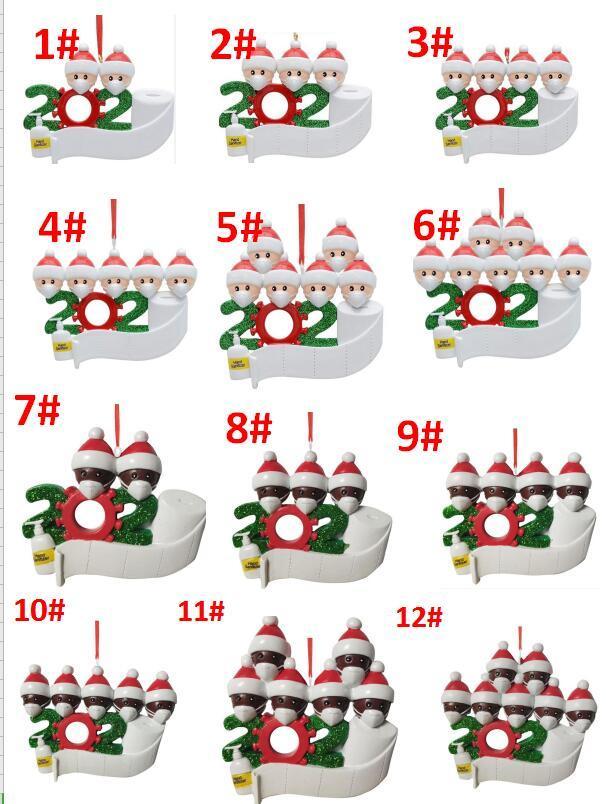 12 styles best-seller de Noël Ornement de bricolage Salutations de Noël 2020 de fête d'anniversaire en cas de pandémie sociale Eloignement d'arbre de Noël Pendentif
