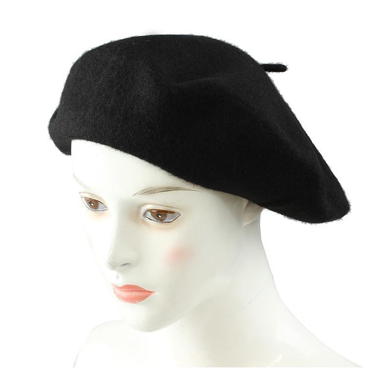Las señoras de lana mezcla francesa de la boina sombrero caliente del sombrero del invierno señoras de las muchachas de la boina