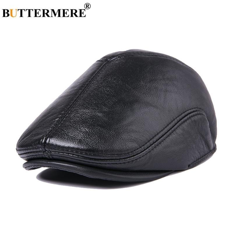 BUTTERMERE Hommes cuir véritable Béret avec Oreillettes Vintage Noir Cabbie Caps Flat Homme British style d'hiver épais Duckbill Hat
