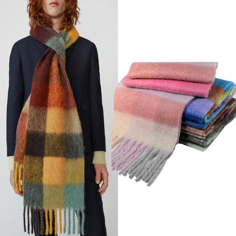 De ancho color del arco iris de tela escocesa de otoño de doble cara borla y el invierno de Nueva bufanda del todo-fósforo