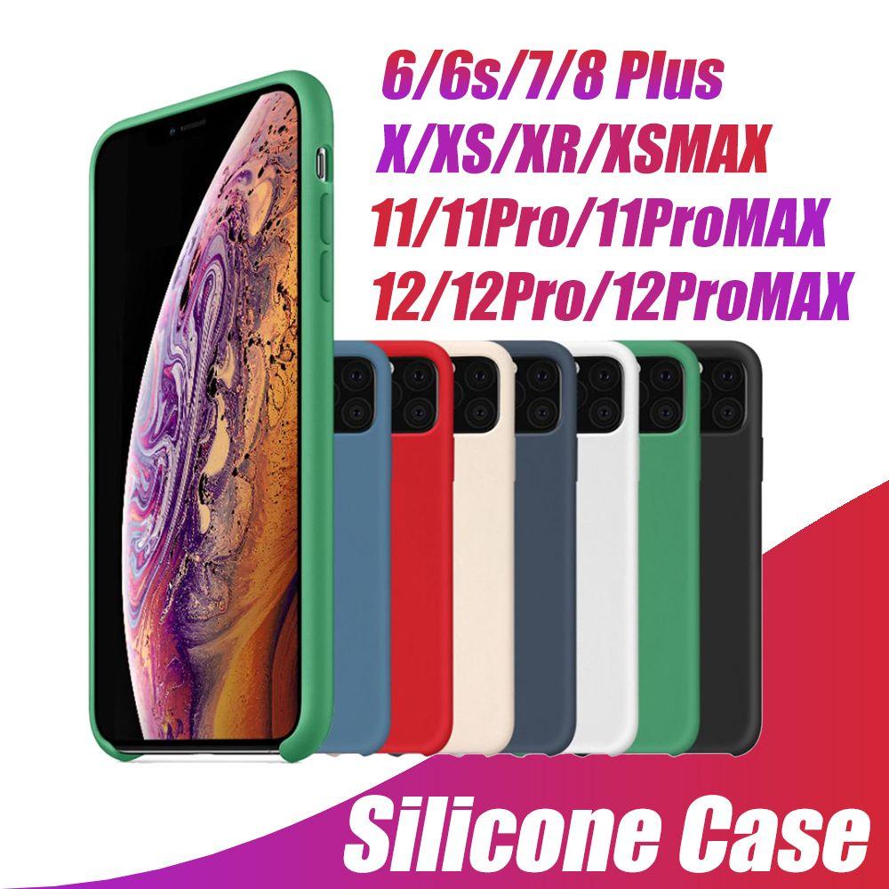 iPhone 12 11 Pro Max Case 용 OEM 실리콘 케이스 소매 상자가있는 아이폰 유형을위한 액체 실키 소프트 터치 커버